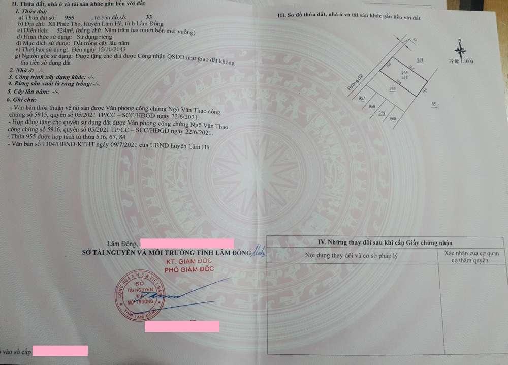 Bất động sản Lâm Đồng - Dự án Phúc Thọ Village - Pháp lý